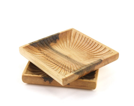 Set of 2 Wooden Maple Square Bowls | Candy Dish | Nut Bowl | Wood Serving Set | |Catch All Tray | Jewelry Bowl