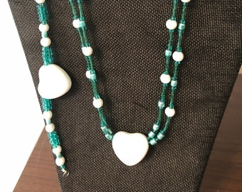 Blue White Necklace w/ Earrings