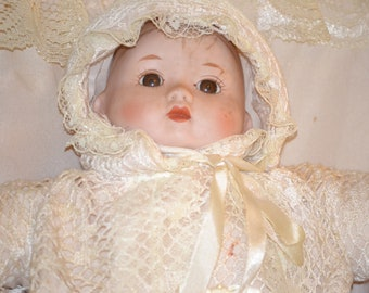 Vintage Musical Doll in Cradle