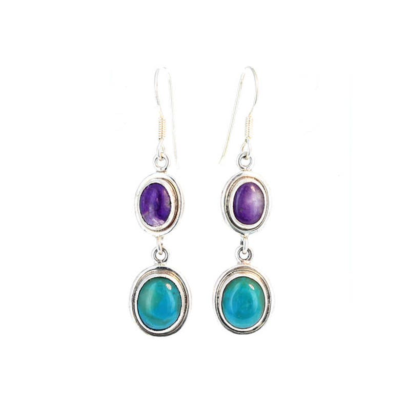 Peruvian Opal And Sugilite Sterling Oval Earrings