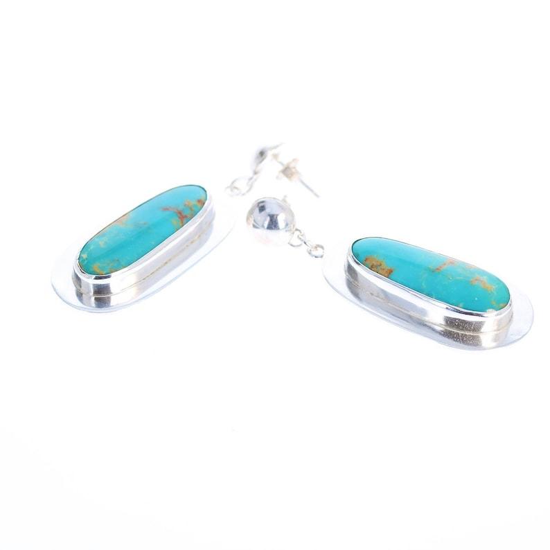 KINGMAN TURQUOISE Earrings Blue Golden Long Ovals