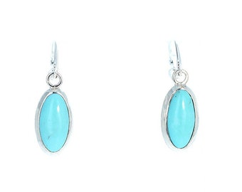 MEXICAN TURQUOISE Earrings Robins Egg Blue Sterling Large Ovals NewWorldGems