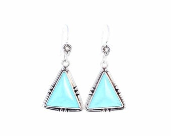 SLEEPING BEAUTY TURQUOISE Earrings Sky Blue Sterling Triangles NewWorldGems