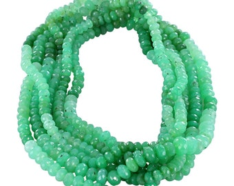 "CHRYSOPRASE BEADS FACETED 6.5-7mm Rondelle 15"" New World Gems"