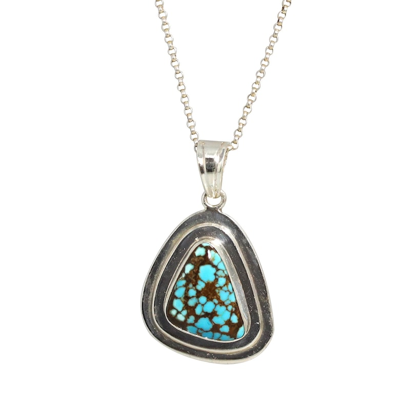 TURQUOISE STERLING PENDANT Rare #8 Mine Triangle Sterling