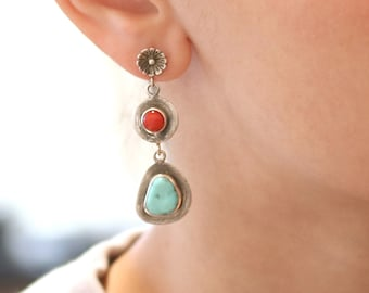 CORAL and DRY CREEK Turquoise Earrings Sterling NewWorldGems