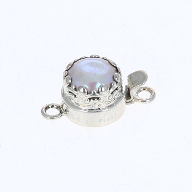 Pink Coin Pearl Clasp Sterling Silver 10mm