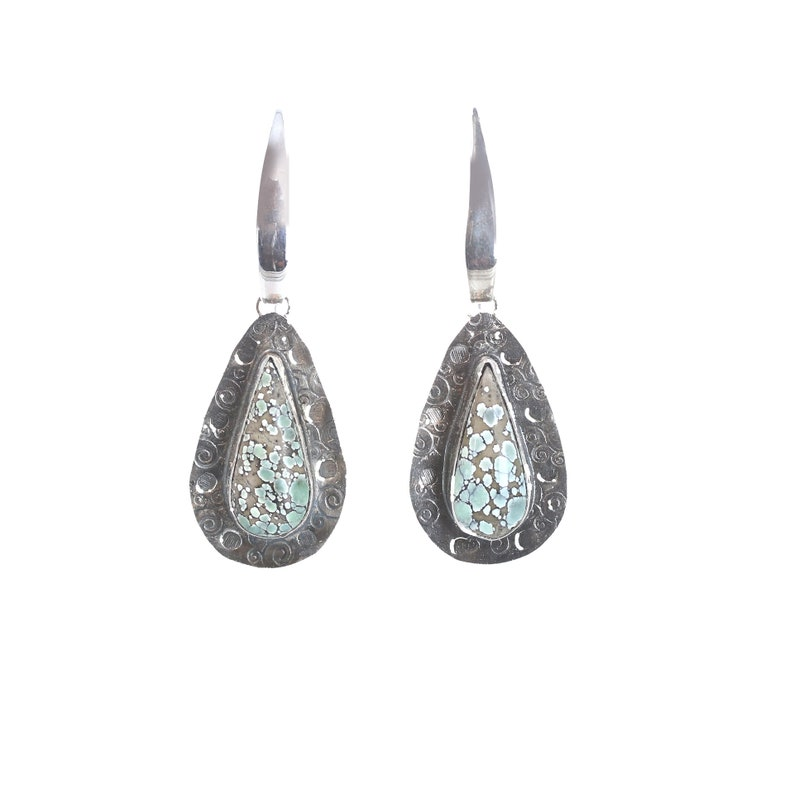 7 DWARFS VARISCITE Earrings Sterling Hand Crafted New Mexico