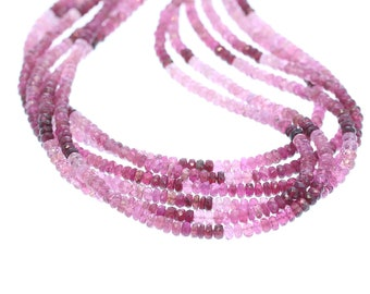 MAGENTA TOURMALINE FACETED Beads 4mm Rondelles Shaded Colors NewWorldGems