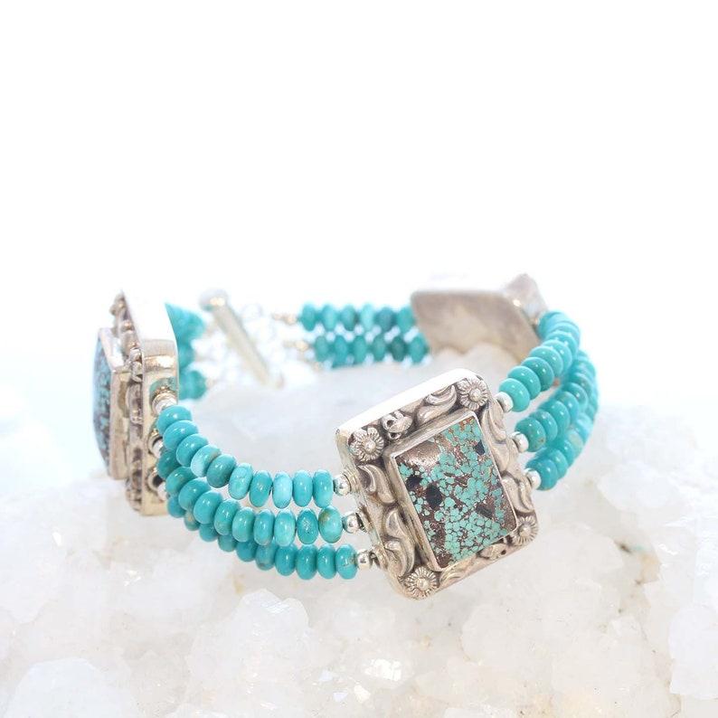 FOX MINE TURQUOISE Bracelet 3 Strand Sterling #1