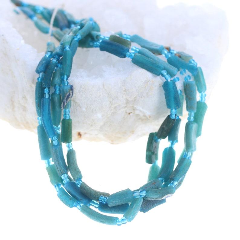 ANCIENT ROMAN GLASS Beads Cerulean Blue 16