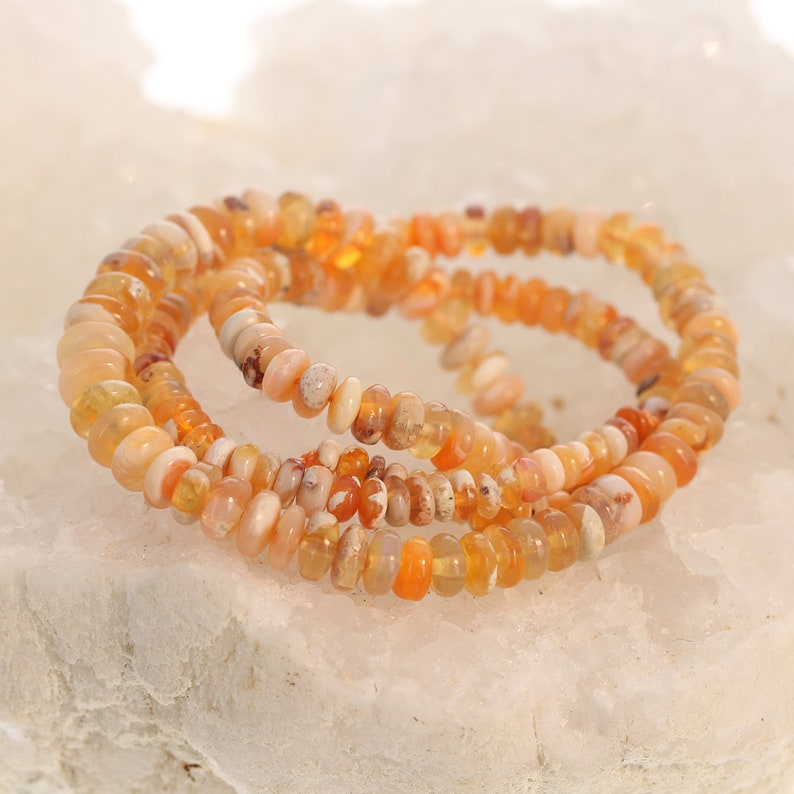 MEXICAN OPAL BEADS Rondelles Light Apricot 5-6.8mm
