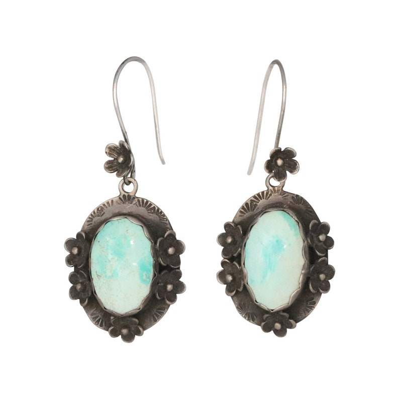 Exquisite CARICO LAKE TURQUOISE Earrings Floral Oxidized Design Handmade