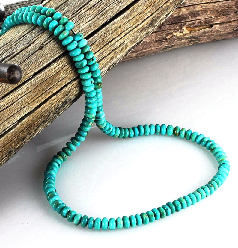 FOX MINE TURQUOISE Beads Rondelles Light Teal 5mm