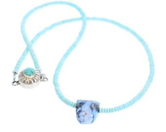 White Buffalo and Dry Creek Turquoise Necklace Southwest Elegance NewWorldGems