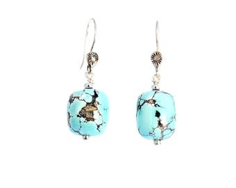 CHINESE TURQUOISE EARRINGS Sky Blue Sterling New World Gems