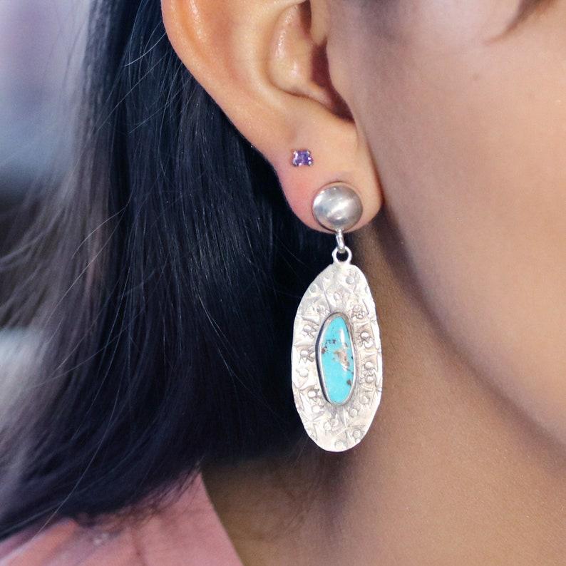TURQUOISE EARRINGS Kingman Mine Sterling Stamped Long Ovals