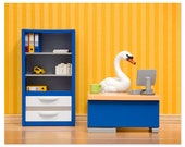 2 FOR 1 SALE - Office decor, unique office art, cubicle decoration: The Stay at Home Swan