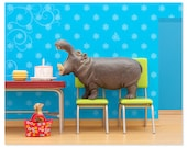 2 FOR 1 SALE - Hippo animal art print: Hungry, Hungry Hippo