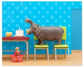 2 FOR 1 SALE - Birthday animal art print with hippo