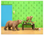 2 FOR 1 SALE - Woodland animals grizzly bear and cub skateboard print: Mama Grizzly