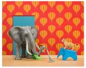 2 FOR 1 SALE - Nursery decor animal art print with elephant: Tickle Trunk