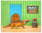 2 FOR 1 SALE - Dinosaur decor wall art: Omnivorous Reader