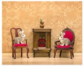 2 FOR 1 SALE - Diorama animal art print with rabbits