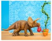 2 FOR 1 SALE - Dinosaur decor triceratops wall art print - Green Thumb