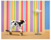 2 FOR 1 SALE - Skateboarding cow animal art print: Goofy Hoof