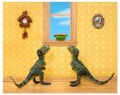 2 FOR 1 SALE - T. Rex twins dinosaur decor art print: Primordial Pie