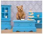 2 FOR 1 SALE - Tea loving grizzly bear diorama art print: Bear Necessities