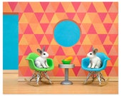 2 FOR 1 SALE - Eames mid century modern art print: Down The Rabbit Hole