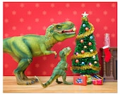 2 FOR 1 SALE - Funny Christmas dinosaur decor - The Holly and the T. Rex