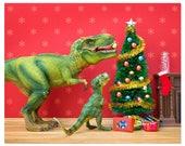 2 FOR 1 SALE - Funny Christmas dinosaur art print