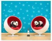 2 FOR 1 SALE - Mid century modern baby animal print: Space Pandas