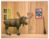 2 FOR 1 SALE - Funny Canadian moose art print