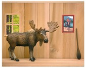 2 FOR 1 SALE - Funny Canadian moose art print: Cabin Fever