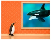 2 FOR 1 SALE - Penguin and whale print: Emperor Penguin