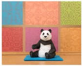 2 FOR 1 SALE - Yoga studio animal pose art print: Panda Posing