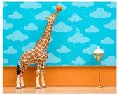 2 FOR 1 SALE - Giraffe art print with basketball: Standing Tall