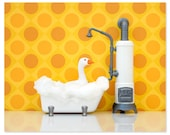 2 FOR 1 SALE - Bright bathroom animal art print: What's Good For The Goose