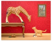 2 FOR 1 SALE - Giraffe and lion cub animal print: Jumpin' Giraffes