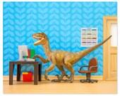 2 FOR 1 SALE - Velociraptor dinosaur decor art print: Fast Forwards