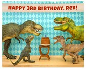 2 FOR 1 SALE - Customizable Personalized Birthday Print: Dinosaur Decor Edition