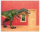 2 FOR 1 SALE - Fun T. Rex dinosaur decor art print for kids rooms: Pizza Delivery