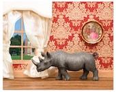 2 FOR 1 SALE - Rhino animal diorama art print - Better Homes and Rhinos