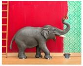 2 FOR 1 SALE - Elephant animal art print: Big Job