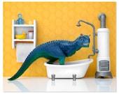 2 FOR 1 SALE - Dinosaur decor wall art print: Scrub