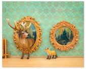 2 FOR 1 SALE - Deer and fox art surreal woodland animal art: Pop Art
